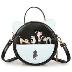 Cat Embroidery Round Shoulder Bag