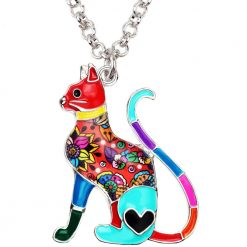 Floral Cat Pendant Necklace