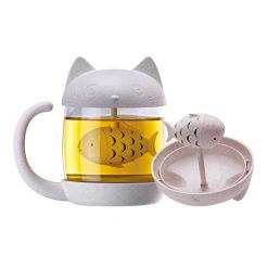 Cat Glass Tea Infuser Mug 250ml