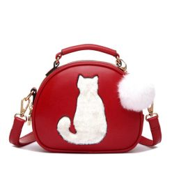 Crossbody fur cat bag red
