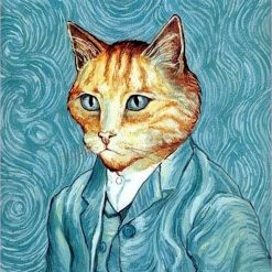 Van Gogh Inspired Cat Fabric