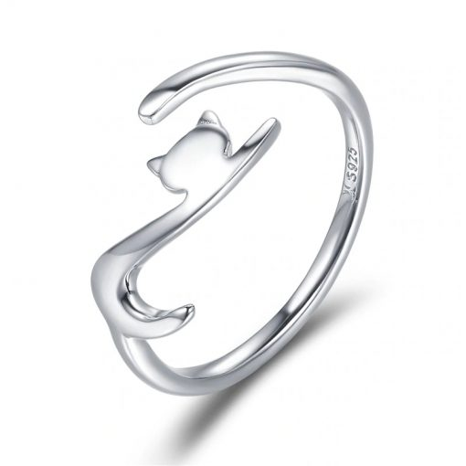 925 Sterling Silver Playful Cat Adjustable Ring