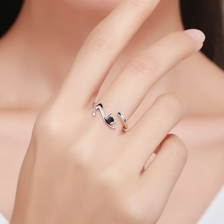 925 Sterling Silver Cat Ring 2