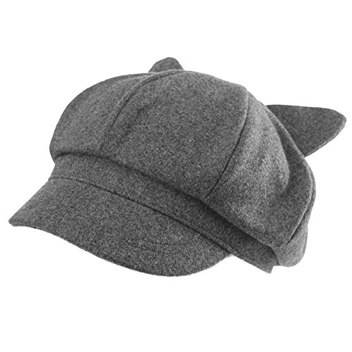 Cat Beret Hat Grey