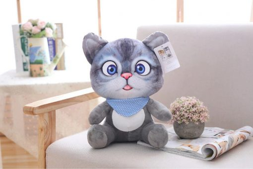 Cat Plush Toy for Children Grey