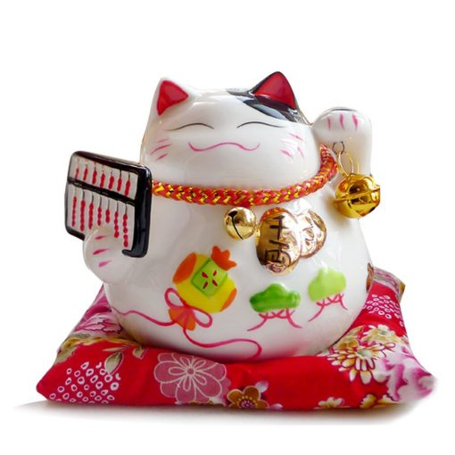 Ceramic Maneki Neko Lucky Cat Coin Bank