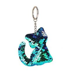 Sparkly Sequin Cat Keychain Blue