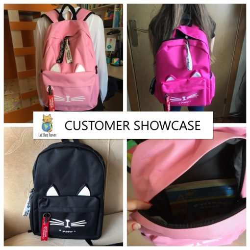 cat ears bagpack customer photos