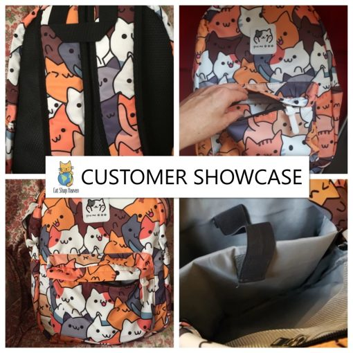 colorful neko cat bagpack customer photos