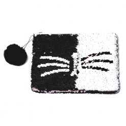 Reversible Sequin Cat Pouch
