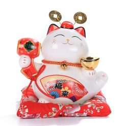 6 inch Ceramic Maneki Neko Lucky Cat Coin Bank