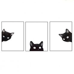 Black Cat Minimalist Wall Art Print